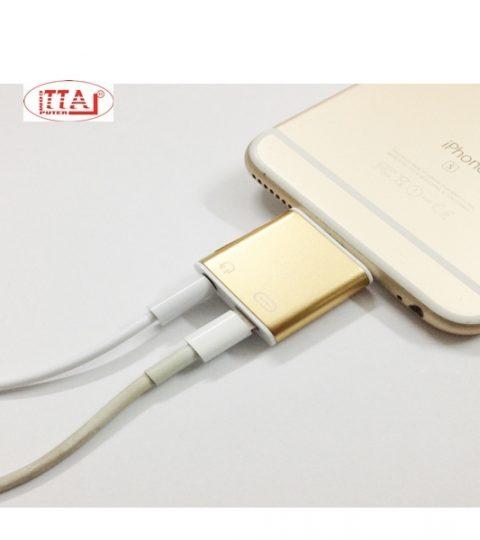 Cục chuyển cổng Lightning Iphone 7 sang Audio 3.5mm và cổng sạc