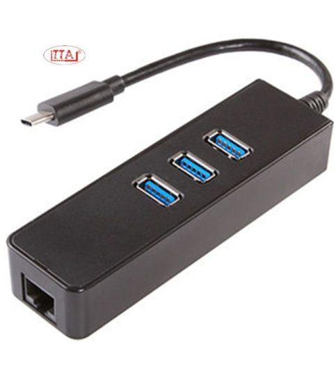 Dây USB Type C ra Hub USB 3 cổng 3.0 + LAN GIGA 100/1000